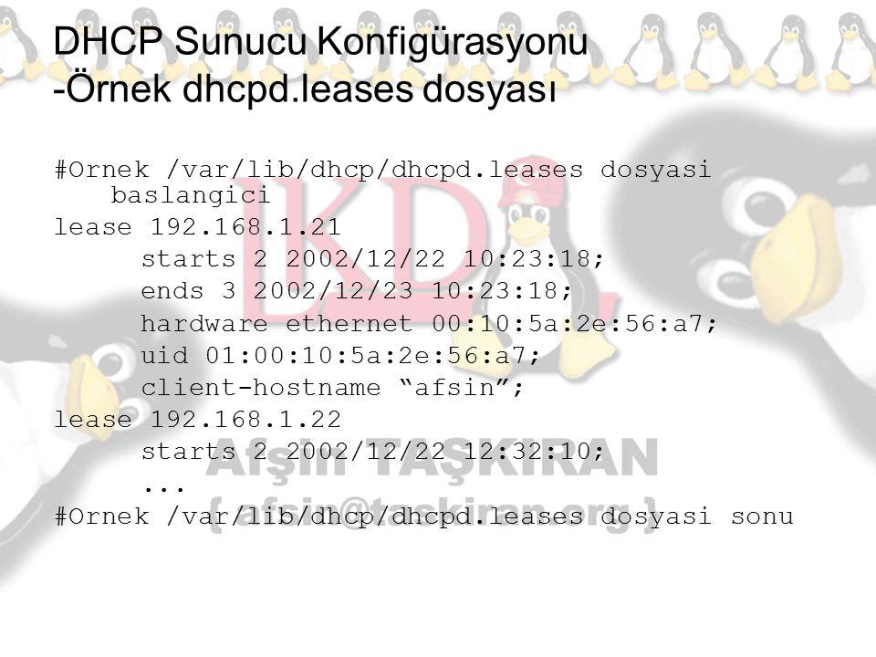 DHCP Sunucu Konfigürasyonu -Örnek dhcpd.leases dosyası #Ornek /var/lib/dhcp/dhcpd.leases dosyasi baslangici lease 192.168.1.21 starts 2 2002/12/22 10: