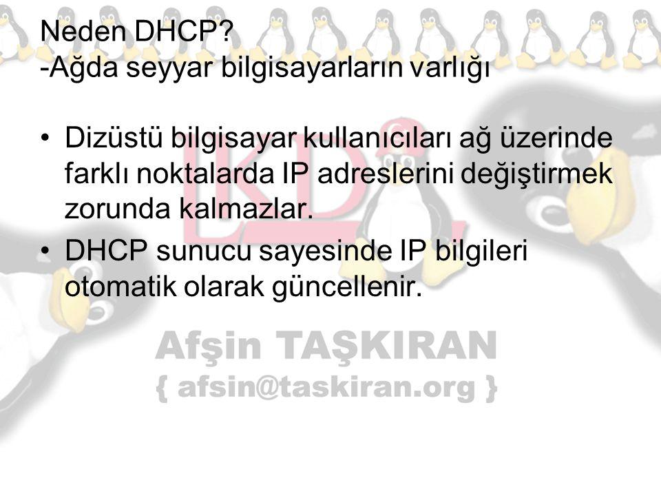 Neden DHCP? -Ağda seyyar bilgisayarların varlığı Dizüstü bilgisayar kullanıcıları ağ üzerinde farklı noktalarda IP adreslerini değiştirmek zorunda kal