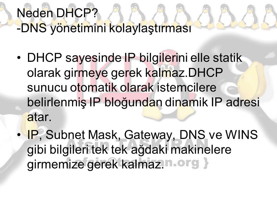 Neden DHCP? -DNS yönetimini kolaylaştırması DHCP sayesinde IP bilgilerini elle statik olarak girmeye gerek kalmaz.DHCP sunucu otomatik olarak istemcil