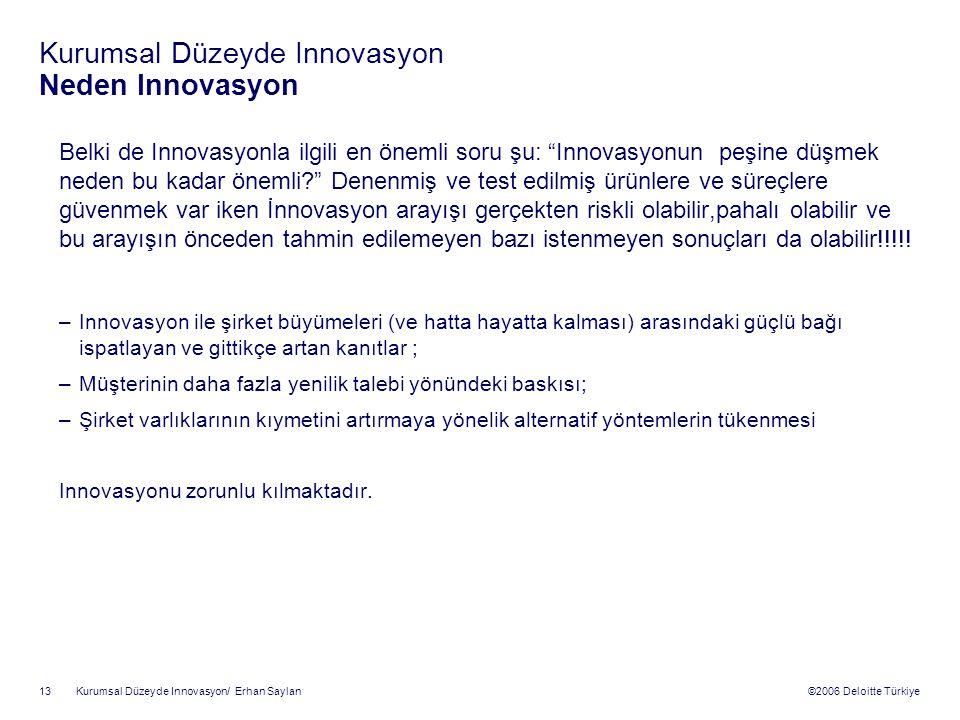 ©2006 Deloitte Türkiye Kurumsal Düzeyde Innovasyon/ Erhan Saylan 13 Kurumsal Düzeyde Innovasyon Neden Innovasyon Belki de Innovasyonla ilgili en önemli soru şu: Innovasyonun peşine düşmek neden bu kadar önemli? Denenmiş ve test edilmiş ürünlere ve süreçlere güvenmek var iken İnnovasyon arayışı gerçekten riskli olabilir,pahalı olabilir ve bu arayışın önceden tahmin edilemeyen bazı istenmeyen sonuçları da olabilir!!!!.