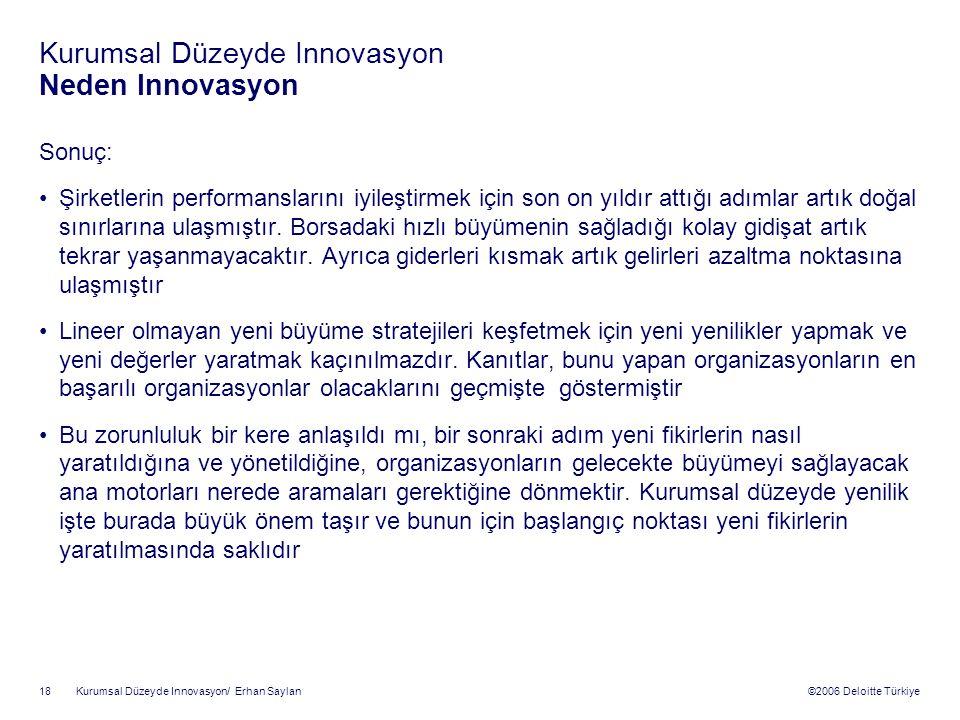 ©2006 Deloitte Türkiye Kurumsal Düzeyde Innovasyon/ Erhan Saylan 18 Kurumsal Düzeyde Innovasyon Neden Innovasyon Sonuç: Şirketlerin performanslarını iyileştirmek için son on yıldır attığı adımlar artık doğal sınırlarına ulaşmıştır.
