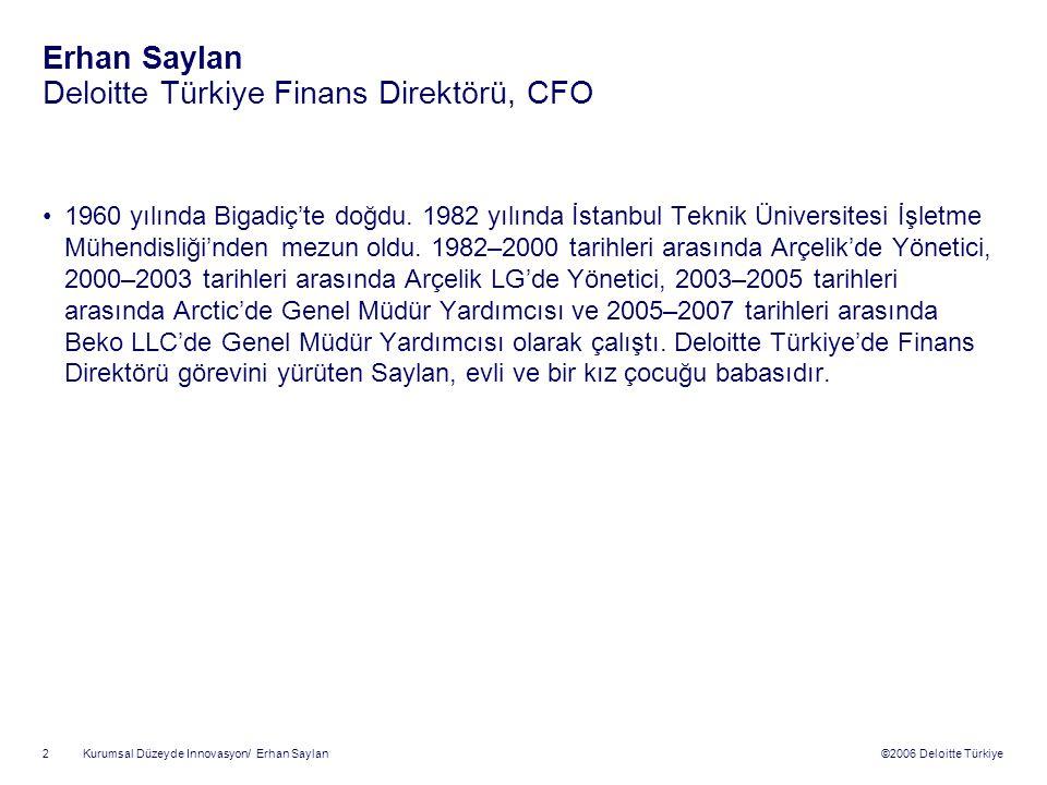 ©2006 Deloitte Türkiye Kurumsal Düzeyde Innovasyon/ Erhan Saylan 2 Erhan Saylan Deloitte Türkiye Finans Direktörü, CFO 1960 yılında Bigadiç'te doğdu.