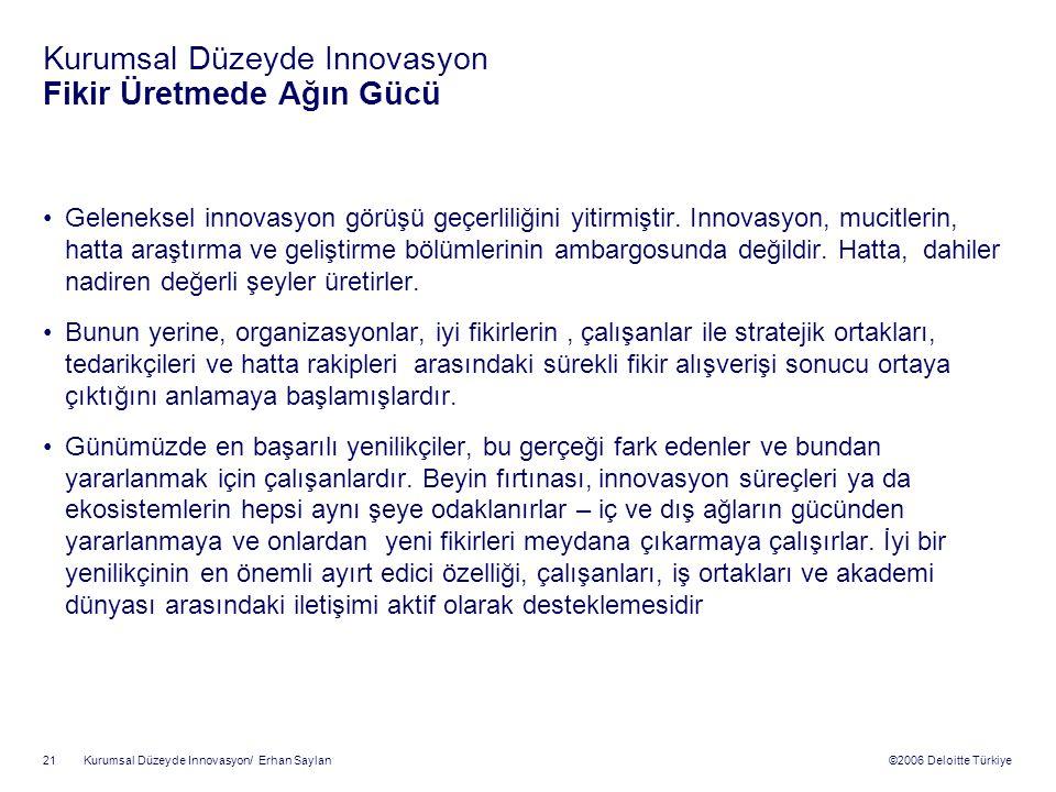 ©2006 Deloitte Türkiye Kurumsal Düzeyde Innovasyon/ Erhan Saylan 21 Kurumsal Düzeyde Innovasyon Fikir Üretmede Ağın Gücü Geleneksel innovasyon görüşü geçerliliğini yitirmiştir.