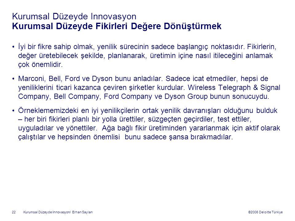 ©2006 Deloitte Türkiye Kurumsal Düzeyde Innovasyon/ Erhan Saylan 22 Kurumsal Düzeyde Innovasyon Kurumsal Düzeyde Fikirleri Değere Dönüştürmek İyi bir fikre sahip olmak, yenilik sürecinin sadece başlangıç noktasıdır.