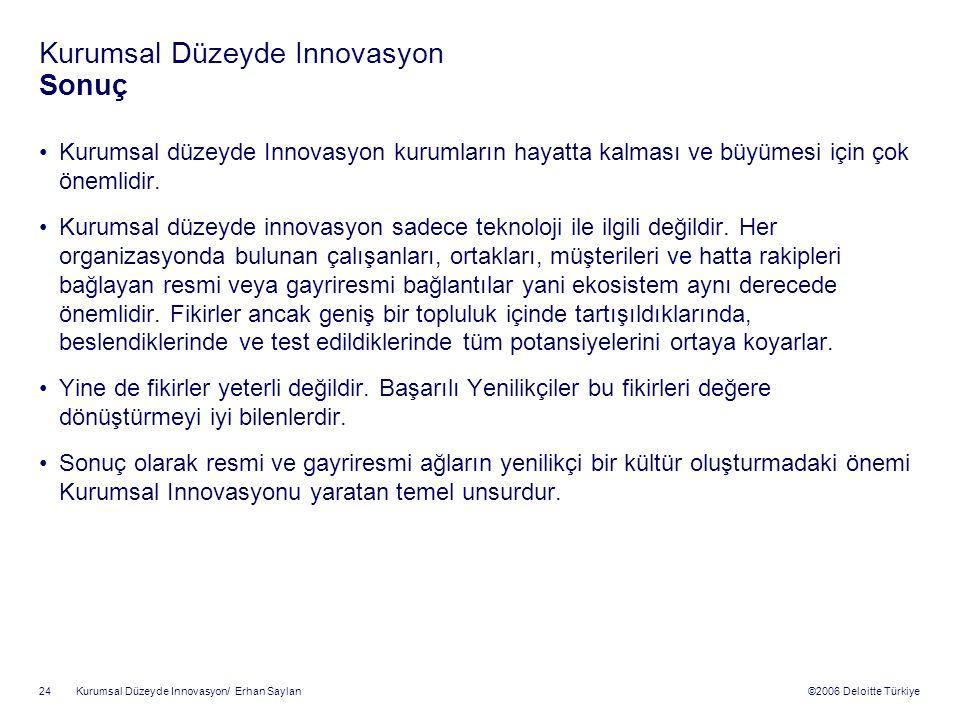 ©2006 Deloitte Türkiye Kurumsal Düzeyde Innovasyon/ Erhan Saylan 24 Kurumsal Düzeyde Innovasyon Sonuç Kurumsal düzeyde Innovasyon kurumların hayatta kalması ve büyümesi için çok önemlidir.