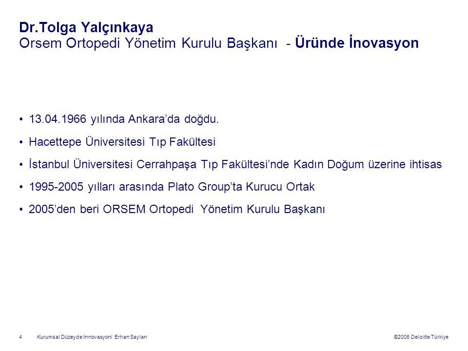 ©2006 Deloitte Türkiye Kurumsal Düzeyde Innovasyon/ Erhan Saylan 4 Dr.Tolga Yalçınkaya Orsem Ortopedi Yönetim Kurulu Başkanı - Üründe İnovasyon 13.04.1966 yılında Ankara'da doğdu.
