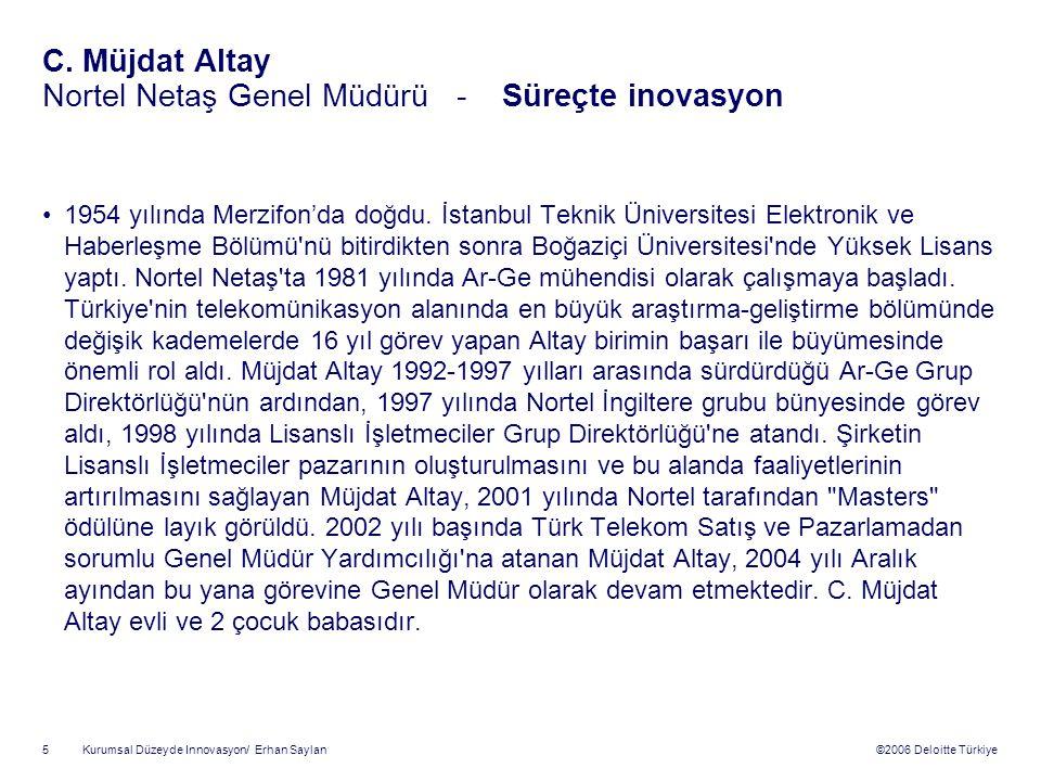 ©2006 Deloitte Türkiye Kurumsal Düzeyde Innovasyon/ Erhan Saylan 5 C.