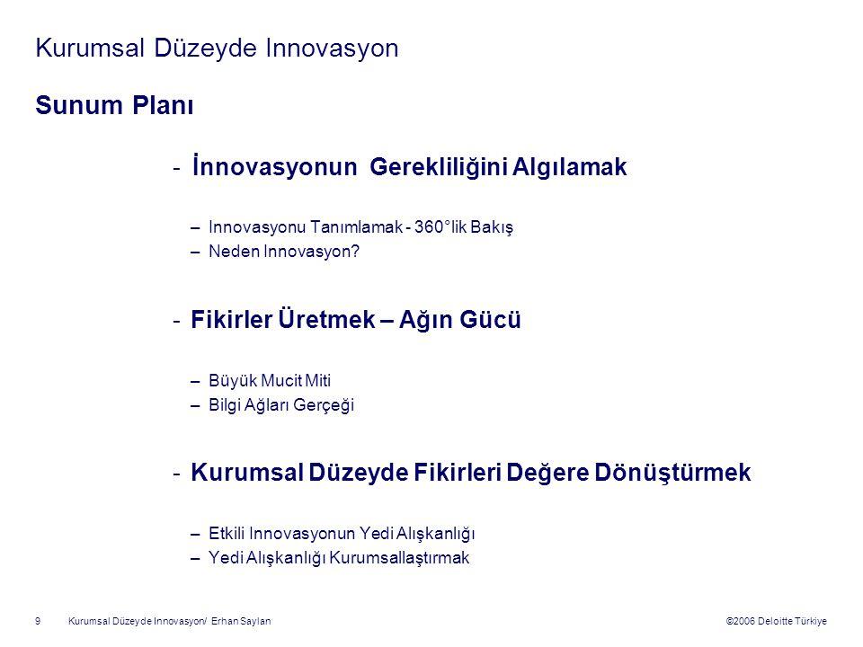 ©2006 Deloitte Türkiye Kurumsal Düzeyde Innovasyon/ Erhan Saylan 9 Kurumsal Düzeyde Innovasyon Sunum Planı - İnnovasyonun Gerekliliğini Algılamak –Innovasyonu Tanımlamak - 360°lik Bakış –Neden Innovasyon.