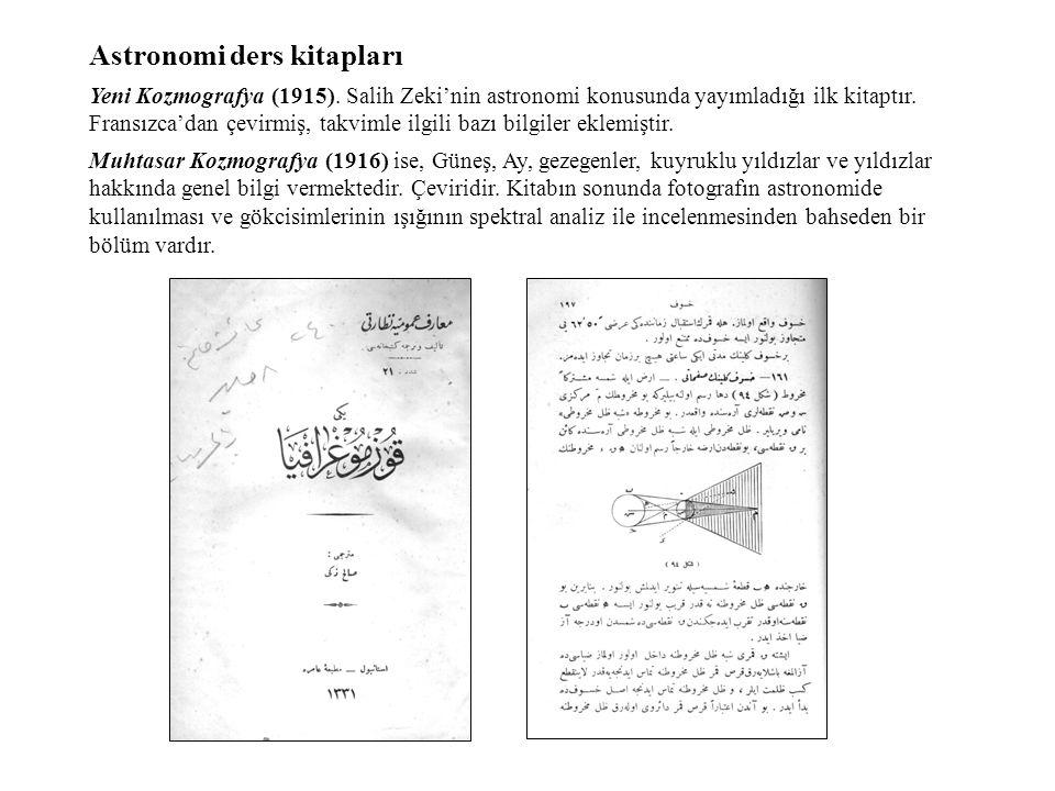 Astronomi ders kitapları Yeni Kozmografya (1915).
