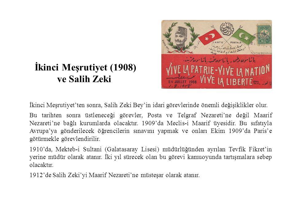 İkinci Meşrutiyet'ten sonra, Salih Zeki Bey'in idari görevlerinde önemli değişiklikler olur.
