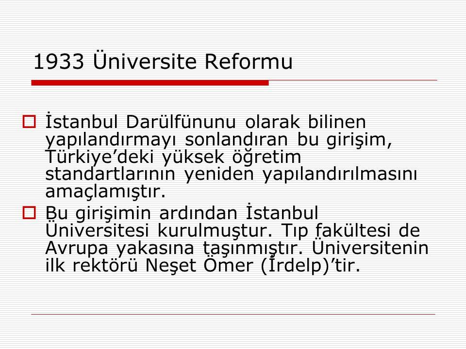 1933 Üniversite Reformu  1933 reformu sadece tıp eğitimini değil, tüm bilimsel hayatı ve üniversite yapılanmasını değiştiren bir girişimdir.