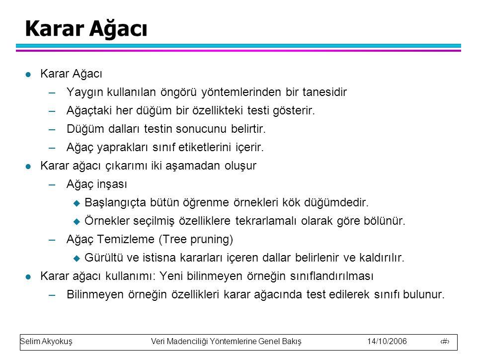 Selim Akyokuş Veri Madenciliği Yöntemlerine Genel Bakış 14/10/2006 13 Karar Ağacı l Karar Ağacı –Yaygın kullanılan öngörü yöntemlerinden bir tanesidir –Ağaçtaki her düğüm bir özellikteki testi gösterir.