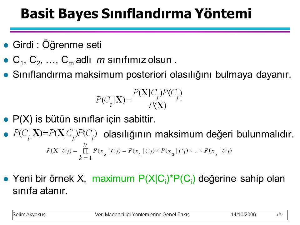 Selim Akyokuş Veri Madenciliği Yöntemlerine Genel Bakış 14/10/2006 16 Basit Bayes Sınıflandırma Yöntemi l Girdi : Öğrenme seti l C 1, C 2, …, C m adlı m sınıfımız olsun.