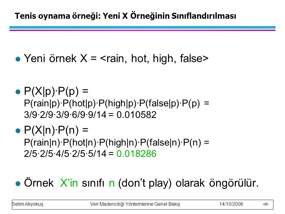 Selim Akyokuş Veri Madenciliği Yöntemlerine Genel Bakış 14/10/2006 18 Tenis oynama örneği: Yeni X Örneğinin Sınıflandırılması l Yeni örnek X = l P(X|p)·P(p) = P(rain|p)·P(hot|p)·P(high|p)·P(false|p)·P(p) = 3/9·2/9·3/9·6/9·9/14 = 0.010582 l P(X|n)·P(n) = P(rain|n)·P(hot|n)·P(high|n)·P(false|n)·P(n) = 2/5·2/5·4/5·2/5·5/14 = 0.018286 Örnek X'in sınıfı n (don ' t play) olarak öngörülür.
