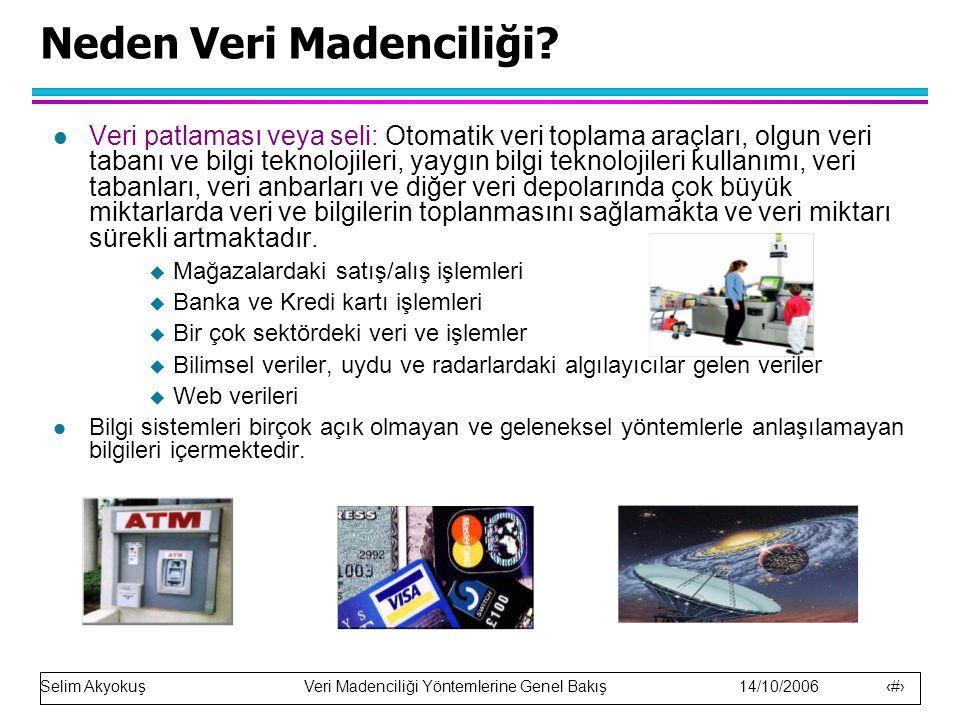Selim Akyokuş Veri Madenciliği Yöntemlerine Genel Bakış 14/10/2006 23 Kümeleme örneği x 3-Boyutlu uzayda öklid uzaklığına dayanan kümeleme.