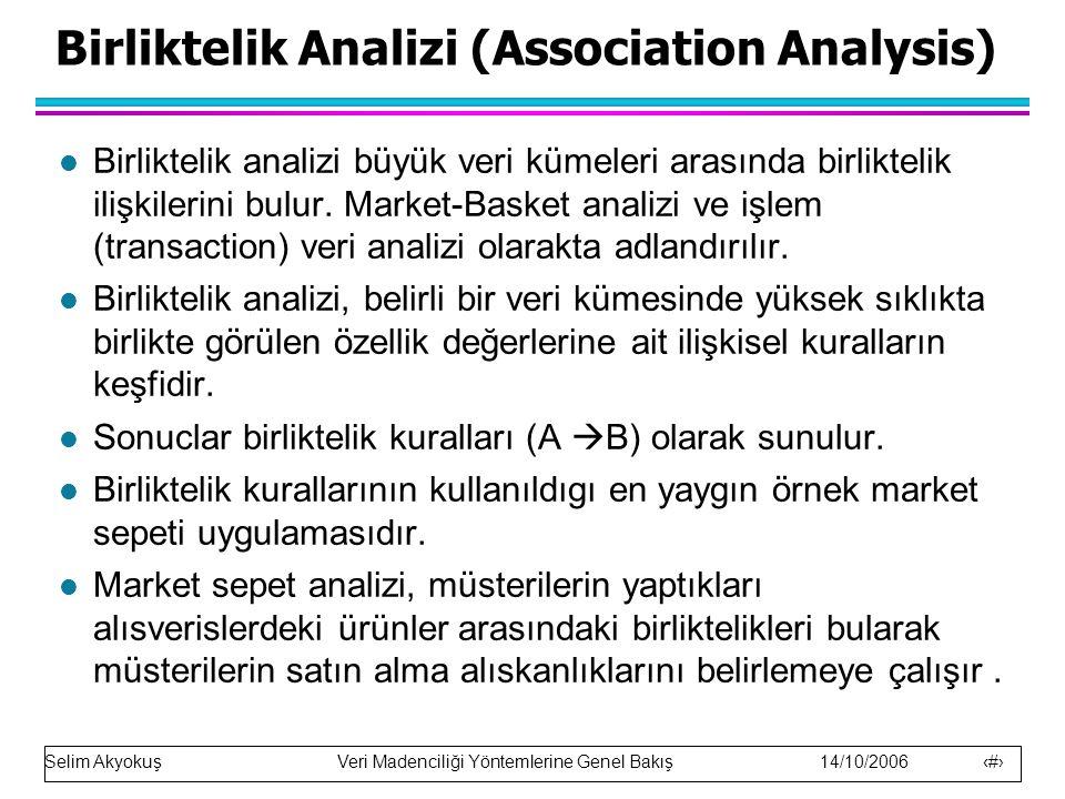 Selim Akyokuş Veri Madenciliği Yöntemlerine Genel Bakış 14/10/2006 25 Birliktelik Analizi (Association Analysis) Birliktelik analizi büyük veri kümeleri arasında birliktelik ilişkilerini bulur.