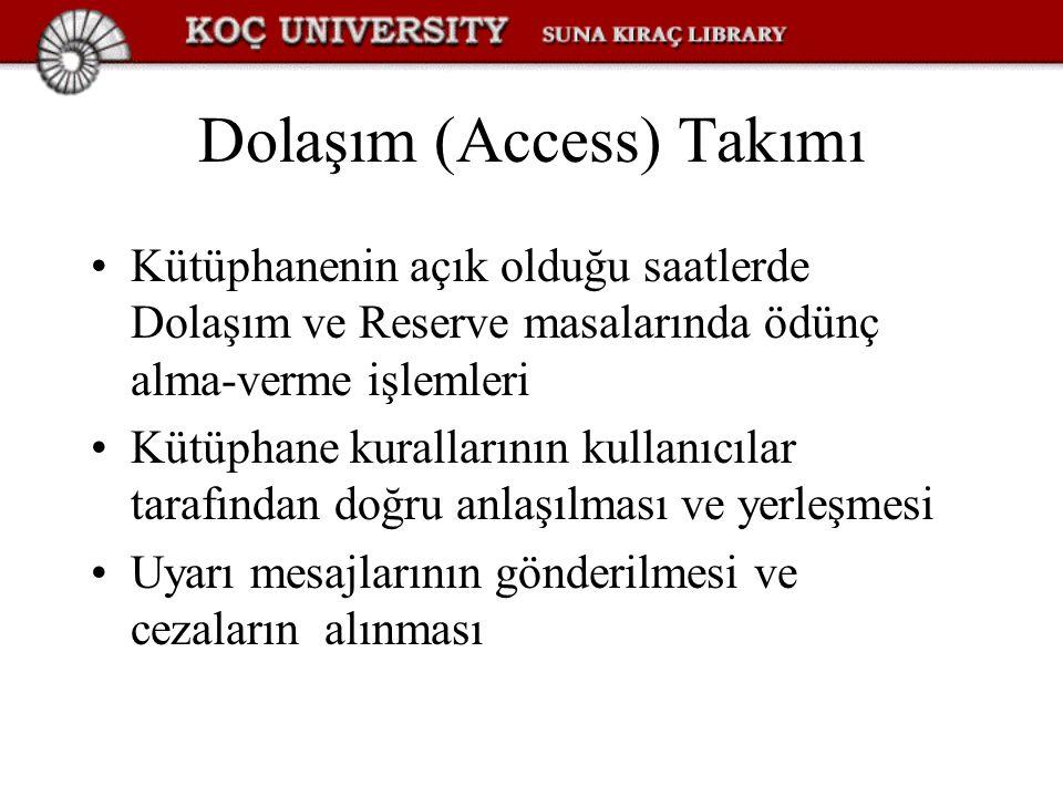 Dolaşım (Access) Takımı Kütüphanenin açık olduğu saatlerde Dolaşım ve Reserve masalarında ödünç alma-verme işlemleri Kütüphane kurallarının kullanıcıl