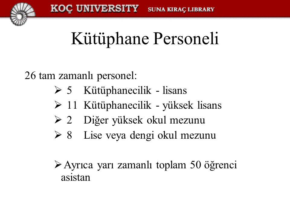 Kütüphane Personeli 26 tam zamanlı personel:  5 Kütüphanecilik - lisans  11 Kütüphanecilik - yüksek lisans  2 Diğer yüksek okul mezunu  8 Lise vey
