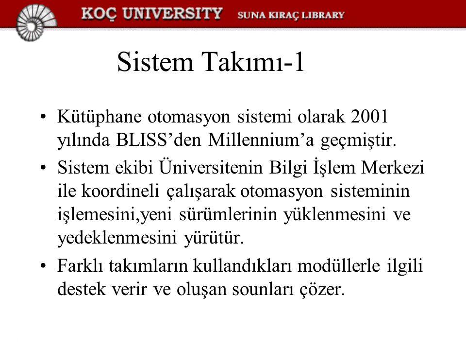 Sistem Takımı-1 Kütüphane otomasyon sistemi olarak 2001 yılında BLISS'den Millennium'a geçmiştir. Sistem ekibi Üniversitenin Bilgi İşlem Merkezi ile k