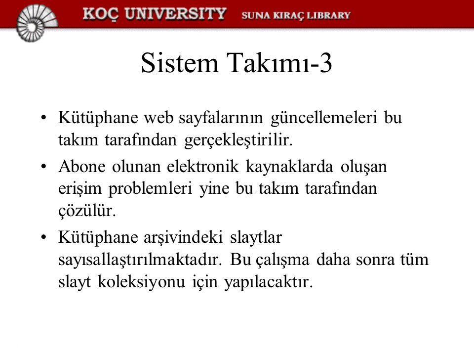 Sistem Takımı-3 Kütüphane web sayfalarının güncellemeleri bu takım tarafından gerçekleştirilir. Abone olunan elektronik kaynaklarda oluşan erişim prob