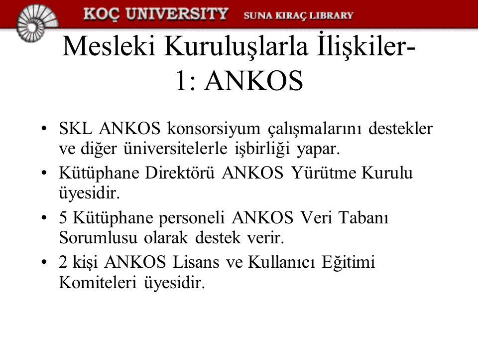 Mesleki Kuruluşlarla İlişkiler- 1: ANKOS SKL ANKOS konsorsiyum çalışmalarını destekler ve diğer üniversitelerle işbirliği yapar. Kütüphane Direktörü A