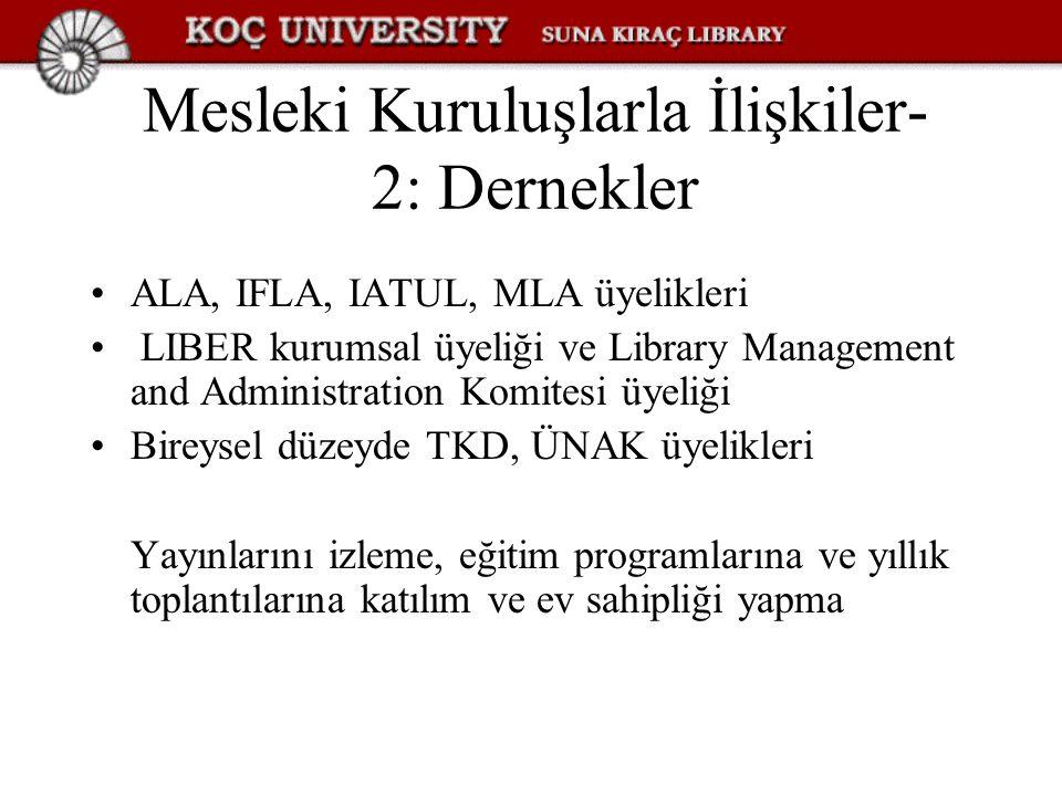 Mesleki Kuruluşlarla İlişkiler- 2: Dernekler ALA, IFLA, IATUL, MLA üyelikleri LIBER kurumsal üyeliği ve Library Management and Administration Komitesi