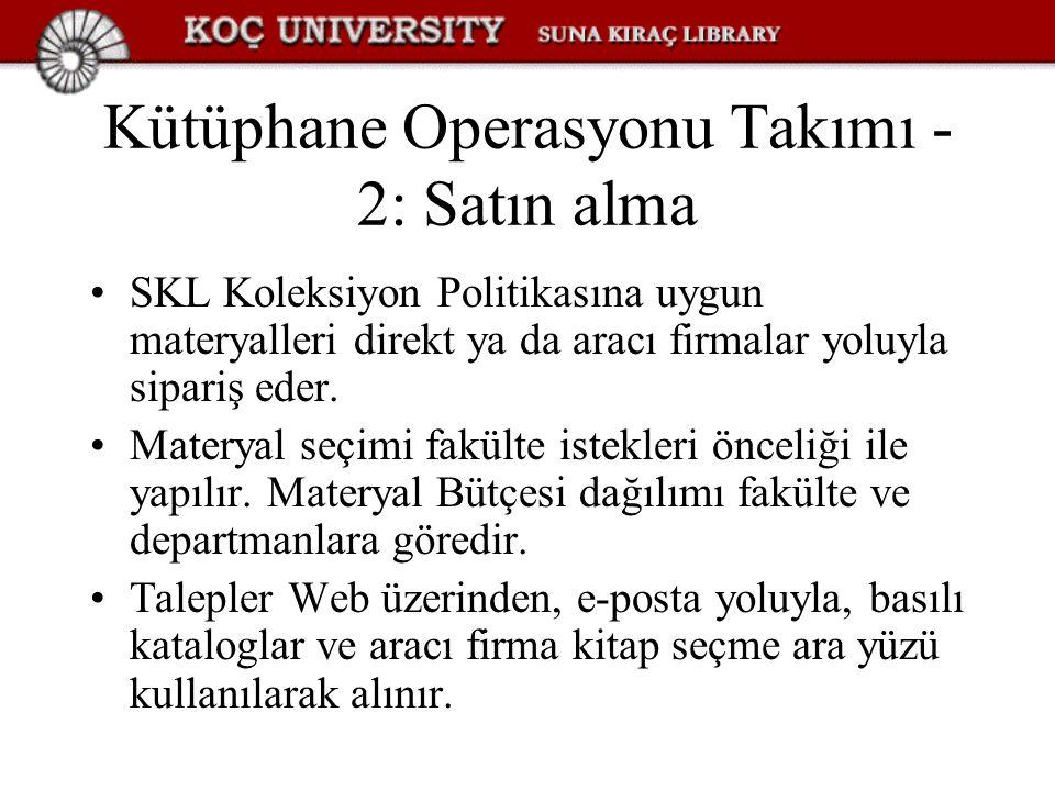 Kütüphane Operasyonu Takımı - 2: Satın alma SKL Koleksiyon Politikasına uygun materyalleri direkt ya da aracı firmalar yoluyla sipariş eder. Materyal
