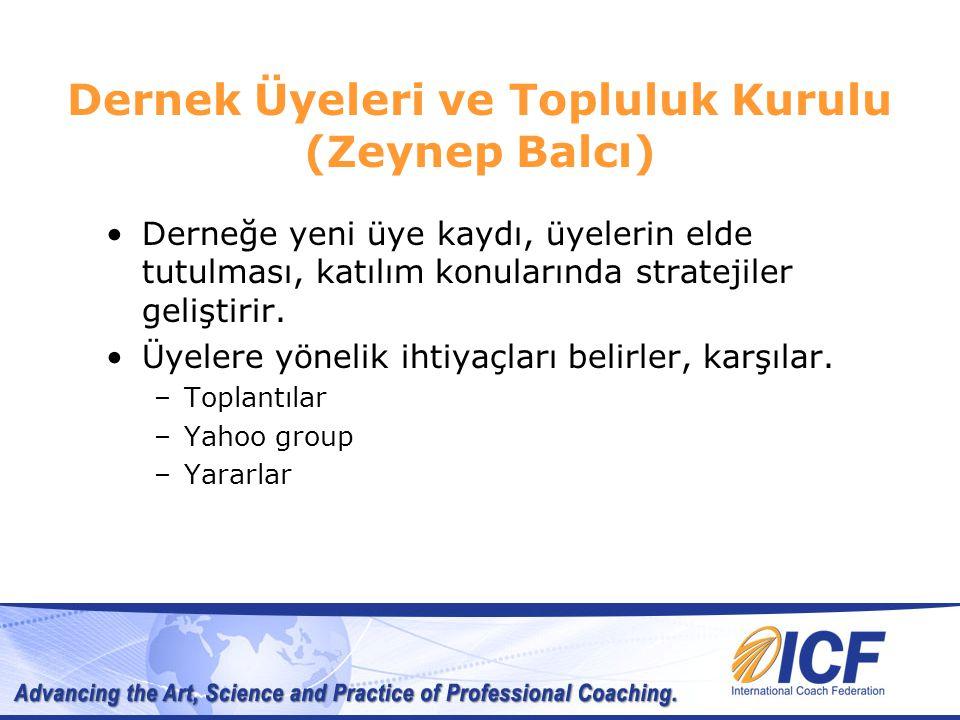 Dernek Üyeleri ve Topluluk Kurulu (Zeynep Balcı) Derneğe yeni üye kaydı, üyelerin elde tutulması, katılım konularında stratejiler geliştirir.