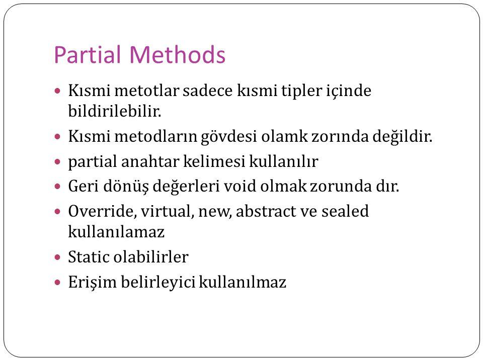 Partial Methods Kısmi metotlar sadece kısmi tipler içinde bildirilebilir. Kısmi metodların gövdesi olamk zorında değildir. partial anahtar kelimesi ku