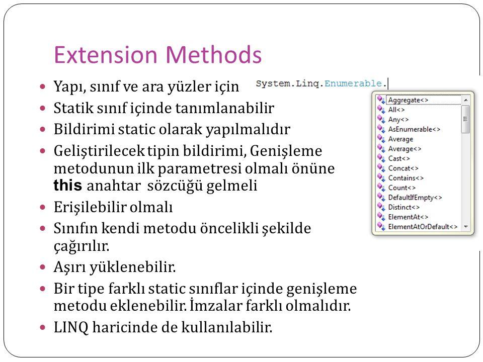 Extension Methods Yapı, sınıf ve ara yüzler için Statik sınıf içinde tanımlanabilir Bildirimi static olarak yapılmalıdır Geliştirilecek tipin bildirim