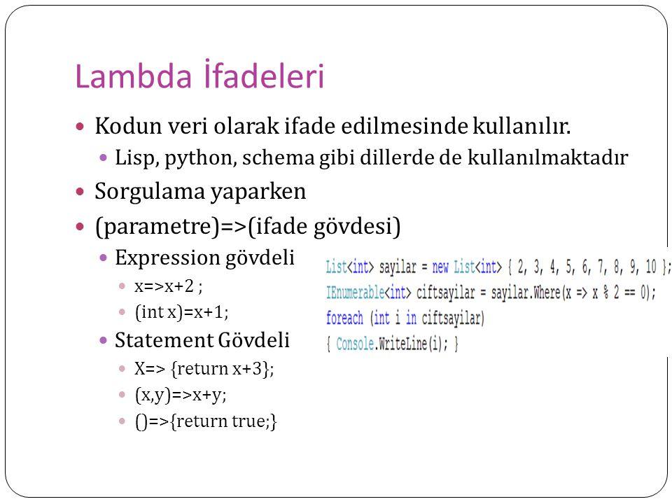 Örnek Devam int[ ] numbers = { 10, 20, 30, 40, 1, 2, 3}; var subset = from i in numbers where i < 10 select i; foreach (var i in subset) Console.WriteLine( {0} < 10 , i); Console.WriteLine() numbers[0] = 4; foreach (var i in subset) Console.WriteLine( {0} < 10 , i); ******************************** 1<10 4<10 2<101<10 3<102<10 3<10 *********************** int[] subsetAsIntArray = (from i in numbers where i < 10 select i).ToArray() int[] subsetAsIntArray = (from i in numbers where i (); List subsetAsListOfInts = (from i in numbers where i ();
