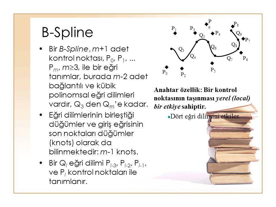 B-Spline Bir B-Spline, m+1 adet kontrol noktası, P 0, P 1,... P m, m  3, ile bir eğri tanımlar, burada m-2 adet bağlantılı ve kübik polinomsal eğri d
