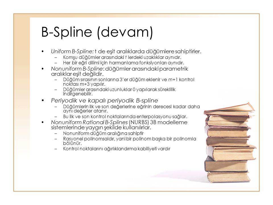 B-Spline (devam) Uniform B-Spline: t de eşit aralıklarda düğümlere sahiptirler. –Komşu düğümler arasındaki t lerdeki uzaklıklar aynıdır. –Her bir eğri