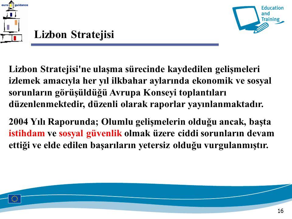 16 Lizbon Stratejisi Lizbon Stratejisi ne ulaşma sürecinde kaydedilen gelişmeleri izlemek amacıyla her yıl ilkbahar aylarında ekonomik ve sosyal sorunların görüşüldüğü Avrupa Konseyi toplantıları düzenlenmektedir, düzenli olarak raporlar yayınlanmaktadır.