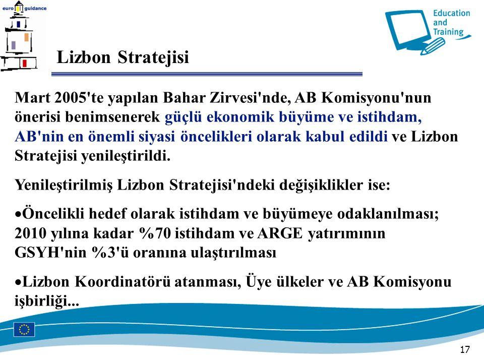 17 Lizbon Stratejisi Mart 2005 te yapılan Bahar Zirvesi nde, AB Komisyonu nun önerisi benimsenerek güçlü ekonomik büyüme ve istihdam, AB nin en önemli siyasi öncelikleri olarak kabul edildi ve Lizbon Stratejisi yenileştirildi.