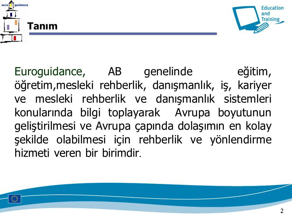 2 Euroguidance, AB genelinde eğitim, öğretim,mesleki rehberlik, danışmanlık, iş, kariyer ve mesleki rehberlik ve danışmanlık sistemleri konularında bi