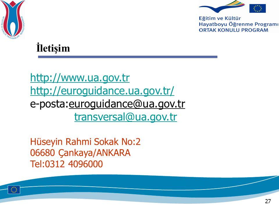 27 http://www.ua.gov.tr http://euroguidance.ua.gov.tr/ e-posta:euroguidance@ua.gov.tr transversal@ua.gov.tr Hüseyin Rahmi Sokak No:2 06680 Çankaya/ANKARA Tel:0312 4096000 İletişim