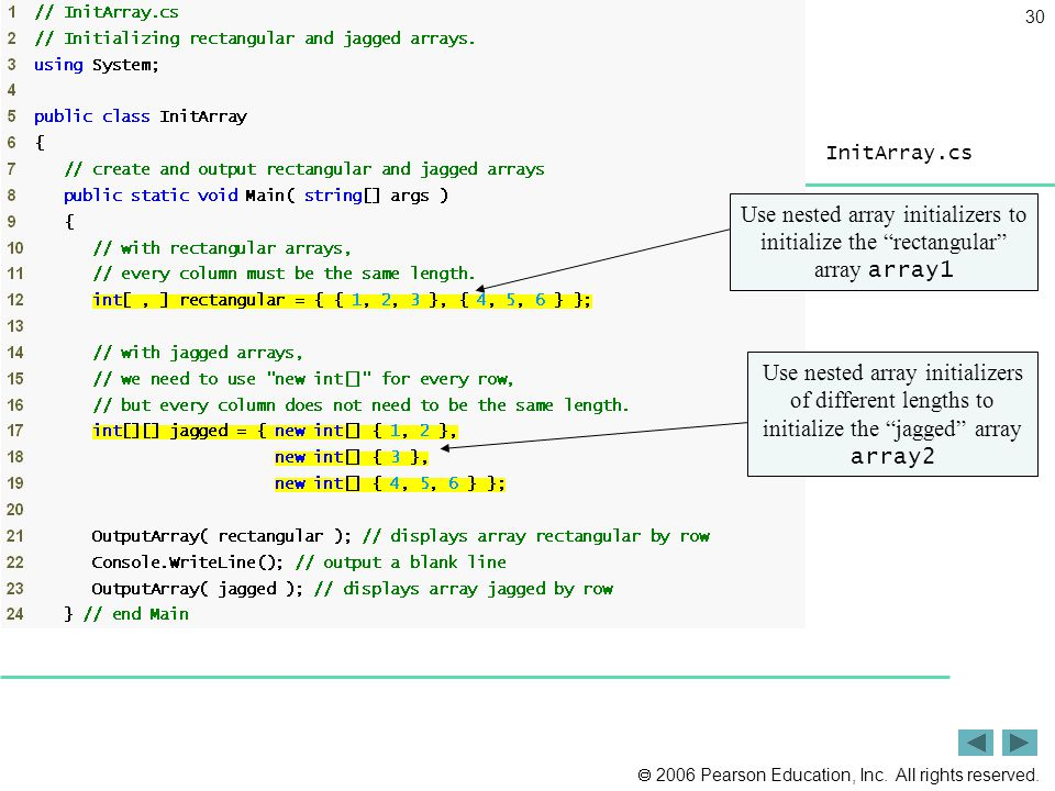 " 2006 Pearson Education, Inc. All rights reserved. 30 InitArray.cs (1 of 3) Use nested array initializers to initialize the ""rectangular"" array array"