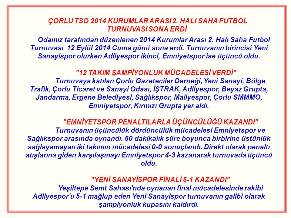 ÇORLU TSO 2014 KURUMLAR ARASI 2.