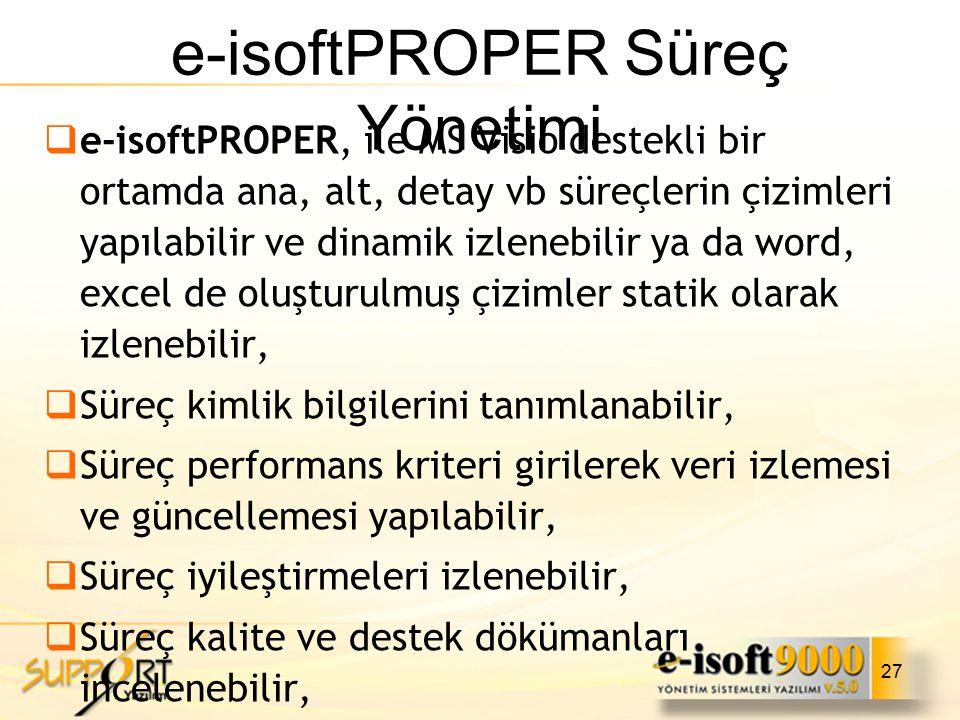 27 e-isoftPROPER Süreç Yönetimi  e-isoftPROPER, ile MS Visio destekli bir ortamda ana, alt, detay vb süreçlerin çizimleri yapılabilir ve dinamik izle