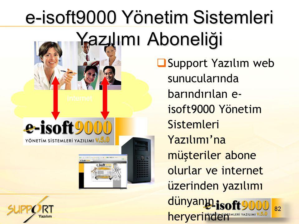 82  Support Yazılım web sunucularında barındırılan e- isoft9000 Yönetim Sistemleri Yazılımı'na müşteriler abone olurlar ve internet üzerinden yazılım