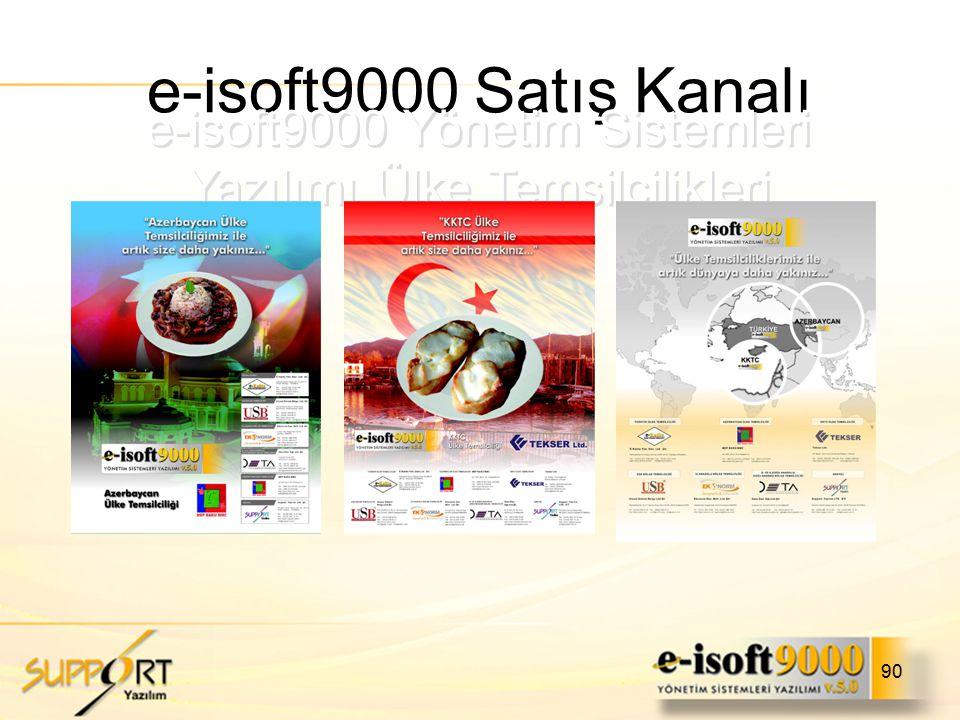 90 e-isoft9000 Satış Kanalı e-isoft9000 Yönetim Sistemleri Yazılımı Ülke Temsilcilikleri