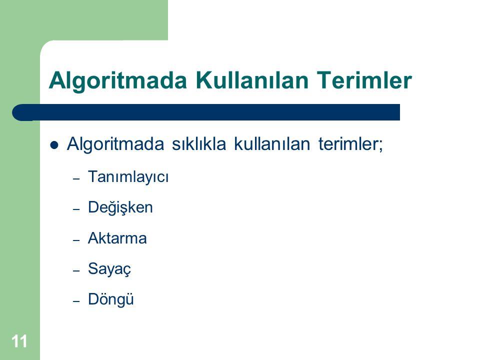 11 Algoritmada Kullanılan Terimler Algoritmada sıklıkla kullanılan terimler; – Tanımlayıcı – Değişken – Aktarma – Sayaç – Döngü
