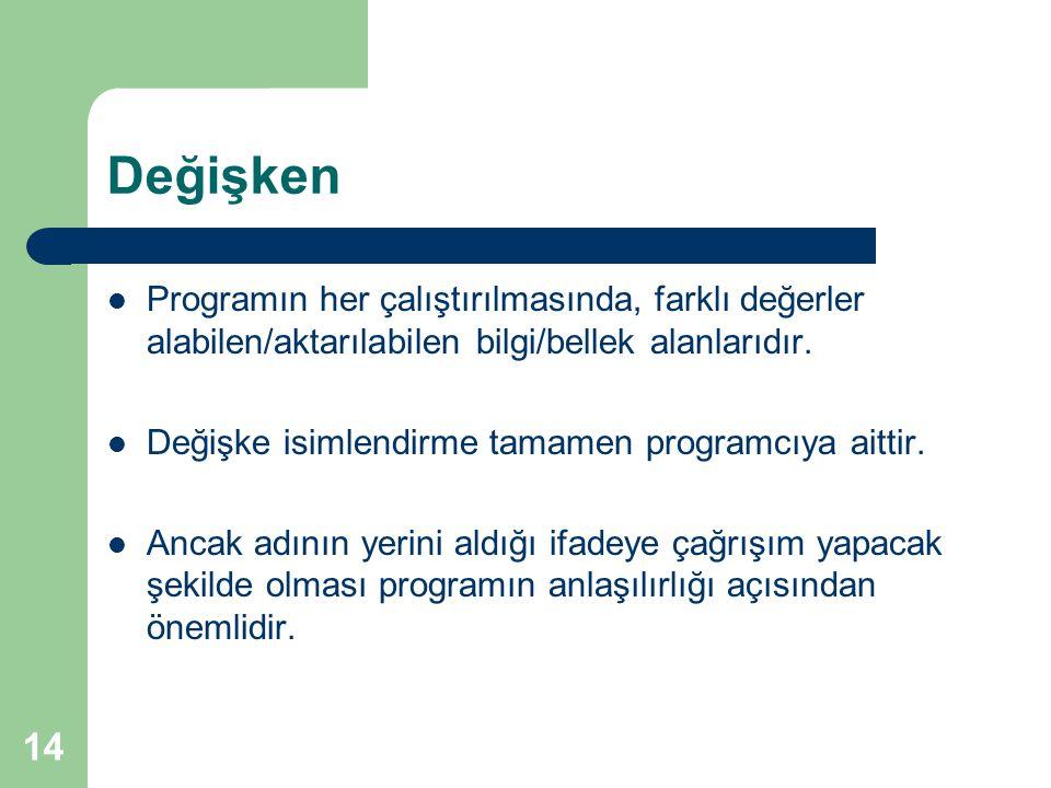 14 Değişken Programın her çalıştırılmasında, farklı değerler alabilen/aktarılabilen bilgi/bellek alanlarıdır.
