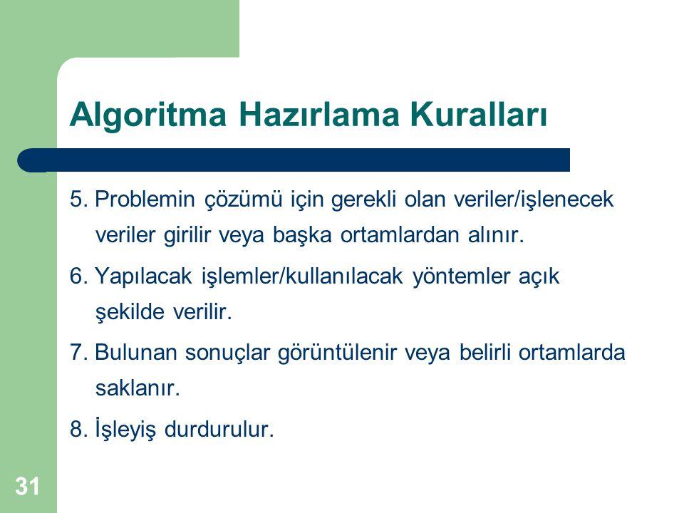 31 Algoritma Hazırlama Kuralları 5. Problemin çözümü için gerekli olan veriler/işlenecek veriler girilir veya başka ortamlardan alınır. 6. Yapılacak i