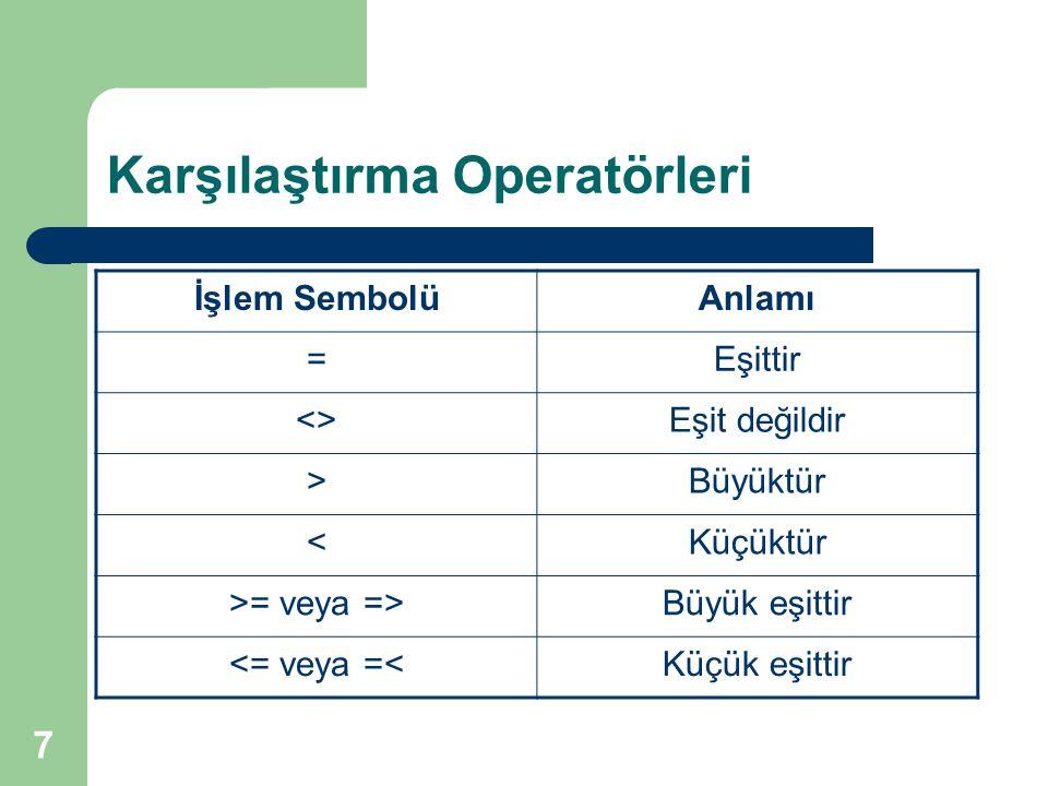 7 Karşılaştırma Operatörleri İşlem SembolüAnlamı =Eşittir <>Eşit değildir >Büyüktür <Küçüktür >= veya =>Büyük eşittir <= veya =<Küçük eşittir
