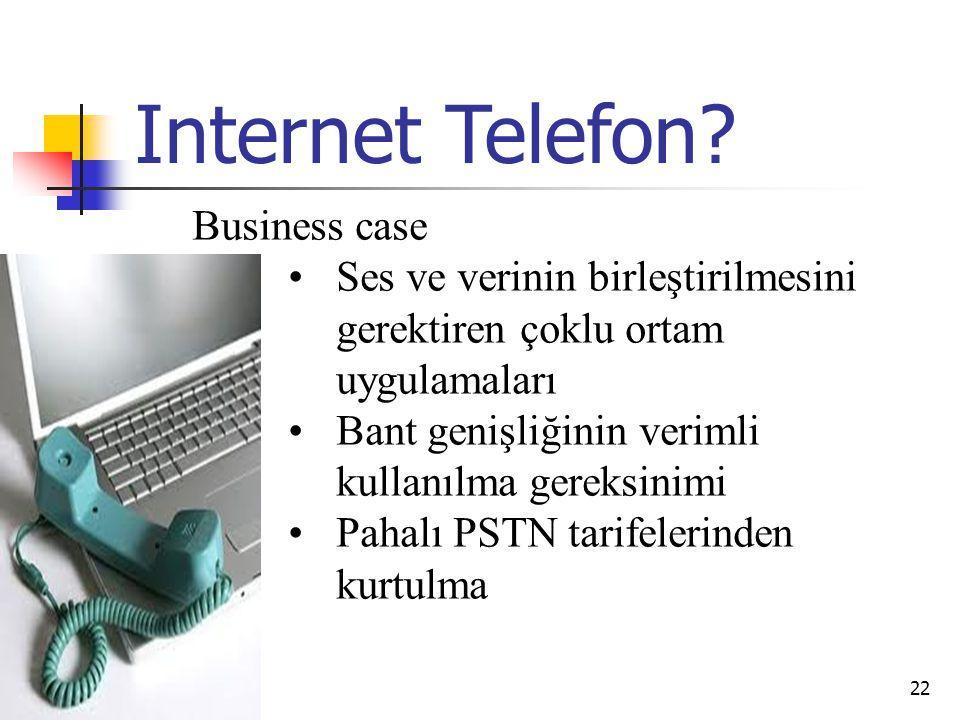 02.04.201521 VoIP & PSTN  IP ile değişken hızlar kullanılabilir  64kbps olmak zorunda değildir, başka kodekler kullanılabilir  Kodek seçimi iki uç arasında yapılmalıdır  IP, bağlantı tabanlı değildir  Kullanıcılar arasında patika kurulmaz  Hedef IP adresi gönderen tarafça bilinmelidir  İki uç arasında IP adres bilgisi değiş tokuş edilmelidir