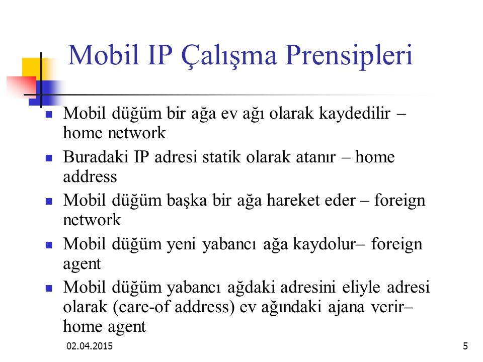 02.04.20155 Mobil IP Çalışma Prensipleri Mobil düğüm bir ağa ev ağı olarak kaydedilir – home network Buradaki IP adresi statik olarak atanır – home address Mobil düğüm başka bir ağa hareket eder – foreign network Mobil düğüm yeni yabancı ağa kaydolur– foreign agent Mobil düğüm yabancı ağdaki adresini eliyle adresi olarak (care-of address) ev ağındaki ajana verir– home agent