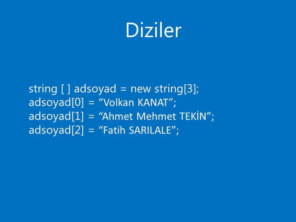 "Diziler string [ ] adsoyad = new string[3]; adsoyad[0] = ""Volkan KANAT""; adsoyad[1] = ""Ahmet Mehmet TEKİN""; adsoyad[2] = ""Fatih SARILALE"";"