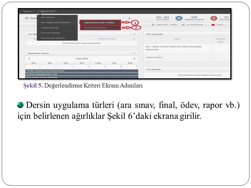 Şekil 5. Değerlendirme Kriteri Ekranı Adımları Dersin uygulama türleri (ara sınav, final, ödev, rapor vb.) için belirlenen ağırlıklar Şekil 6'daki ekr